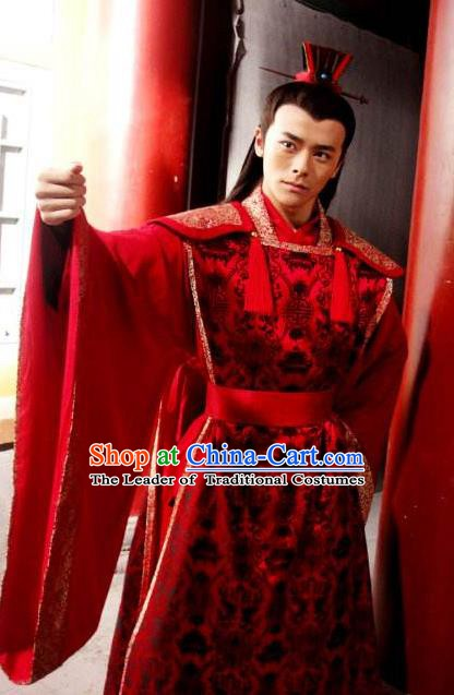 Ancient Chinese Ming Dynasty Emperor Zhu Youjian Wedding Embroidered Costume for Men