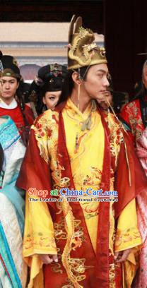 Ancient Chinese Ming Dynasty Majesty Emperor Zhu Youxiao Embroidered Costume for Men