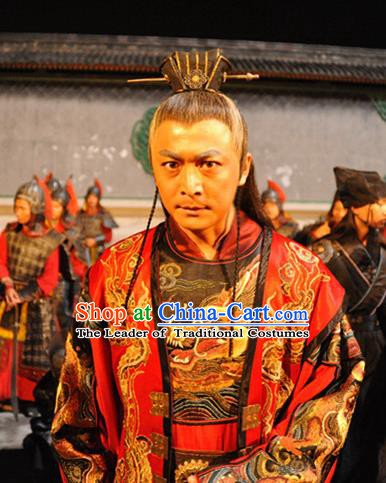 Chinese Ancient Ming Dynasty Court Eunuch Wei Zhongxian Embroidered Costume for Men