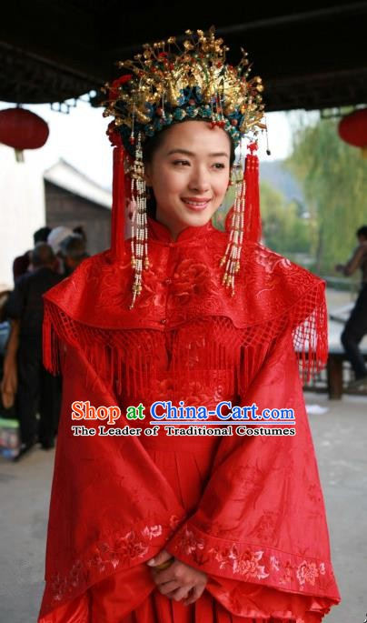 Chinese Ancient Ming Dynasty Courtesan Liu Rushi Historical Costume Official Mistress Wedding Dress for Women
