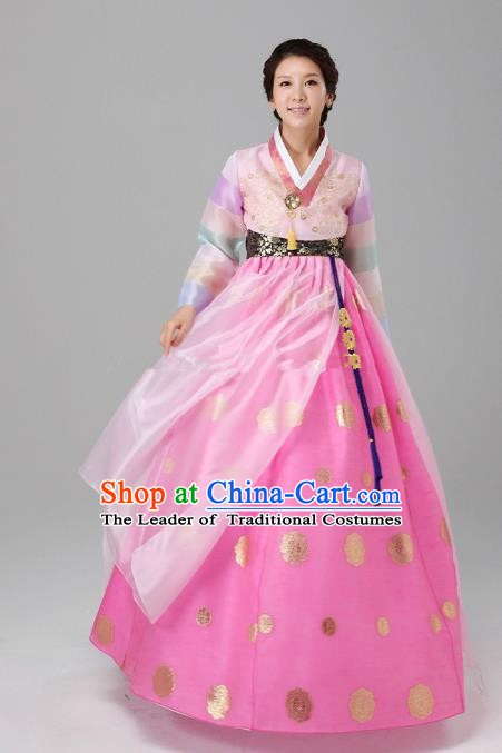Top Grade Korean Hanbok Ancient Traditional Fashion Apparel Costumes Blouse and Pink Dress for Women