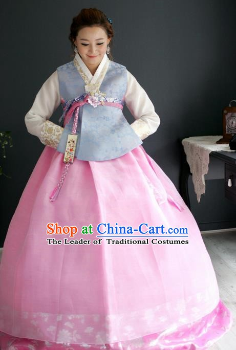 Korean Traditional Hanbok Blue Blouse and Pink Dress Ancient Fashion Apparel Costumes for Women