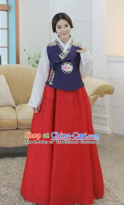 Korean Traditional Hanbok Bride Purple Blouse and Red Dress Ancient Formal Occasions Fashion Apparel Costumes for Women
