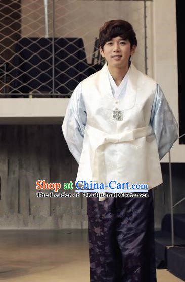 Traditional Korean Costumes Ancient Korean Male Hanbok Bridegroom Costume White Vest and Purple Pants for Men