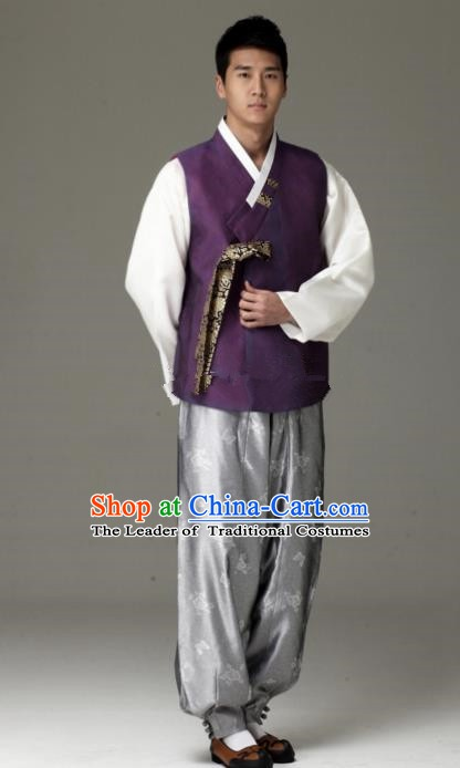 Traditional Korean Costumes Ancient Korean Male Hanbok Bridegroom Costume Purple Vest and Grey Pants for Men