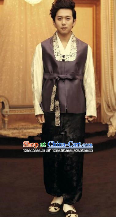 Traditional Korean Costumes Ancient Korean Male Hanbok Bridegroom Purple Vest and Black Pants for Men