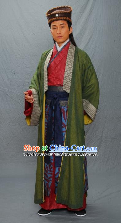 Chinese Ancient Ming Dynasty Artist Gifted Scholar Wen Zhengming Costume for Men
