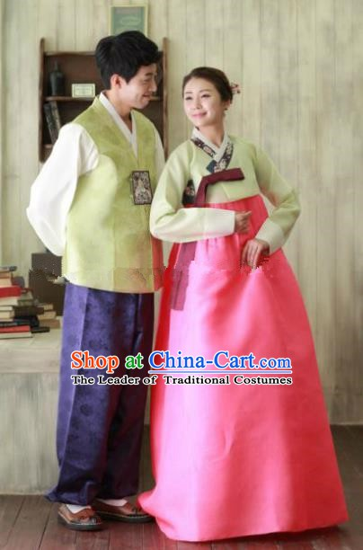 Traditional Korean Costumes Ancient Korean Male Hanbok Bridegroom Green Vest and Purple Pants for Men