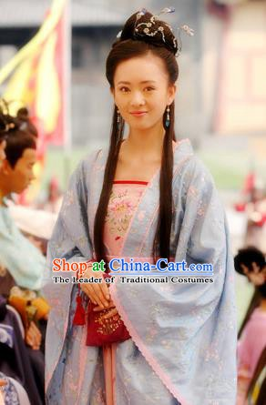 Chinese Ancient Song Dynasty Courtesan Cai Chuchu Replica Costume for Women