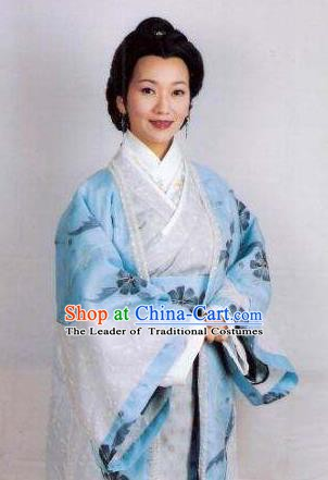 Chinese Ancient Song Dynasty Female General She Saihua Blue Dress Replica Costume for Women