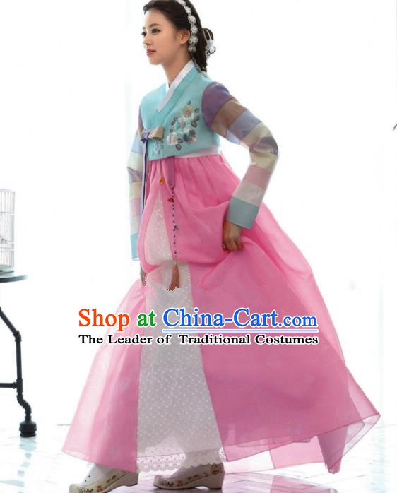 Korean Traditional Bride Hanbok Blue Blouse and Pink Dress Ancient Formal Occasions Fashion Apparel Costumes for Women
