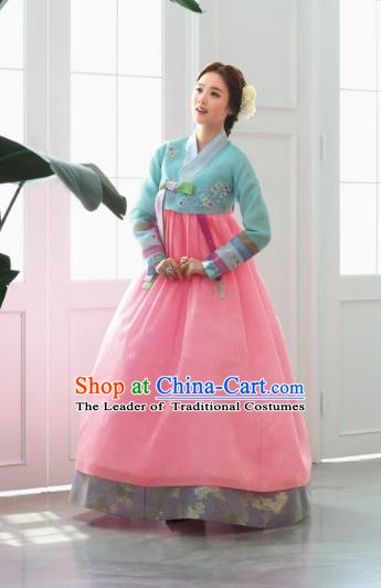 Korean Traditional Bride Hanbok Green Blouse and Pink Dress Ancient Formal Occasions Fashion Apparel Costumes for Women