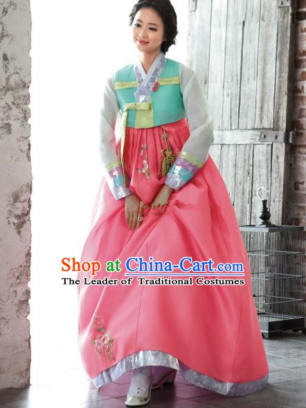 Korean Traditional Bride Hanbok Green Blouse and Pink Embroidered Dress Ancient Formal Occasions Fashion Apparel Costumes for Women