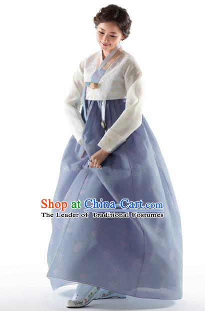 Korean Traditional Bride Hanbok White Blouse and Blue Embroidered Dress Ancient Formal Occasions Fashion Apparel Costumes for Women
