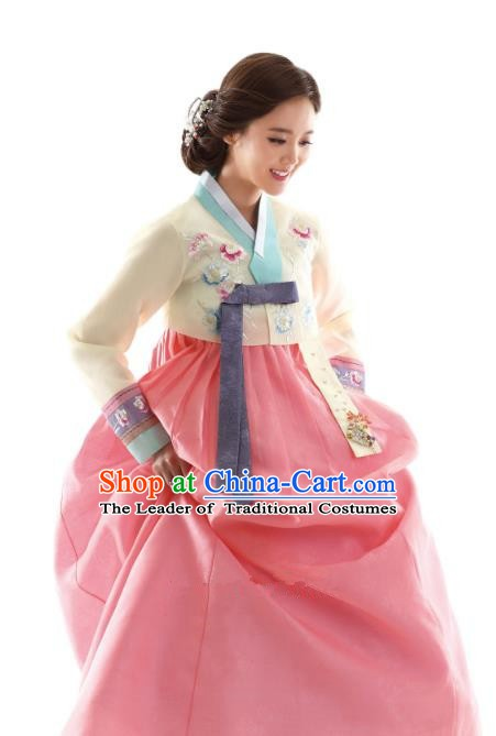 Korean Traditional Bride Hanbok Beige Blouse and Pink Embroidered Dress Ancient Formal Occasions Fashion Apparel Costumes for Women