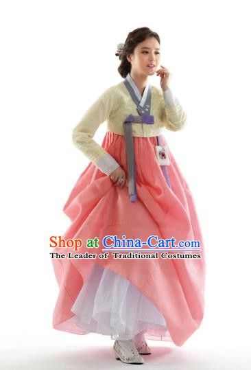 Korean Traditional Bride Hanbok Yellow Blouse and Pink Embroidered Dress Ancient Formal Occasions Fashion Apparel Costumes for Women