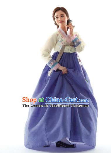 Korean Traditional Bride Hanbok Yellow Blouse and Lilac Embroidered Dress Ancient Formal Occasions Fashion Apparel Costumes for Women