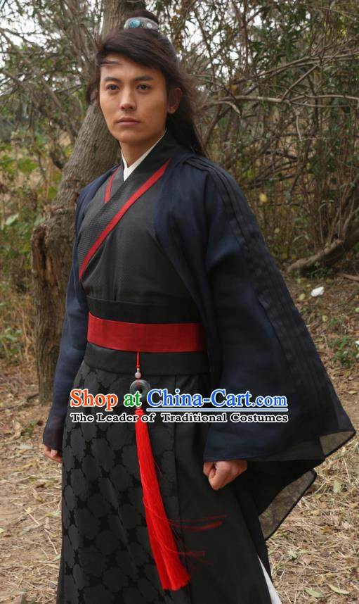 Chinese Ming Dynasty Swordsman Hanfu Robe Ancient Knight-errant Replica Costume for Men