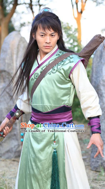 Chinese Ming Dynasty Swordsman Hanfu Green Clothing Ancient Knight-errant Replica Costume for Men