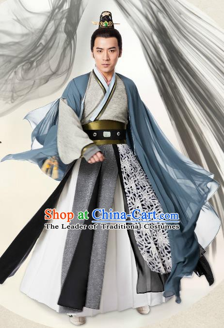 Chinese Ming Dynasty Prince Swordsman Clothing Ancient Nobility Childe Replica Costume for Men