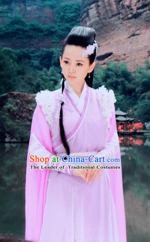 Ancient Chinese Song Dynasty Swordswoman Pink Hanfu Dress Chivalrous Woman Replica Costume