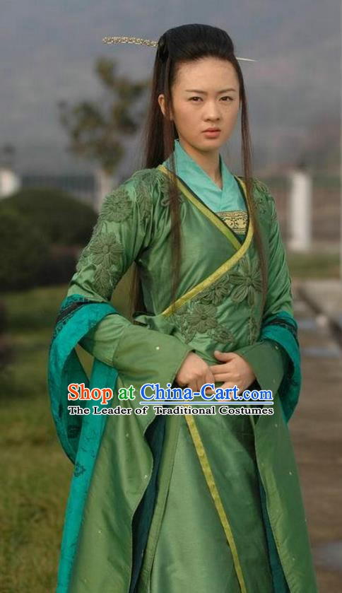 Ancient Chinese Song Dynasty Palace Lady Green Dress Princess Replica Costume for Women