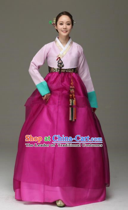 Korean Traditional Bride Hanbok Pink Blouse and Purple Embroidered Dress Ancient Formal Occasions Fashion Apparel Costumes for Women