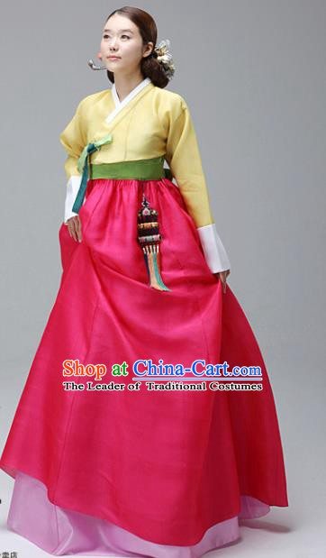 Korean Traditional Bride Hanbok Yellow Blouse and Rosy Dress Ancient Formal Occasions Fashion Apparel Costumes for Women