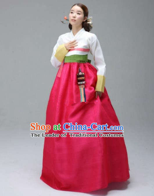 Korean Traditional Bride Hanbok Formal Occasions White Blouse and Rosy Dress Ancient Fashion Apparel Costumes for Women