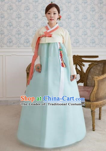 1fbb02eead2853 Korean Traditional Bride Hanbok Formal Occasions White Blouse and Light  Blue Dress Ancient Fashion Apparel Costumes for Women