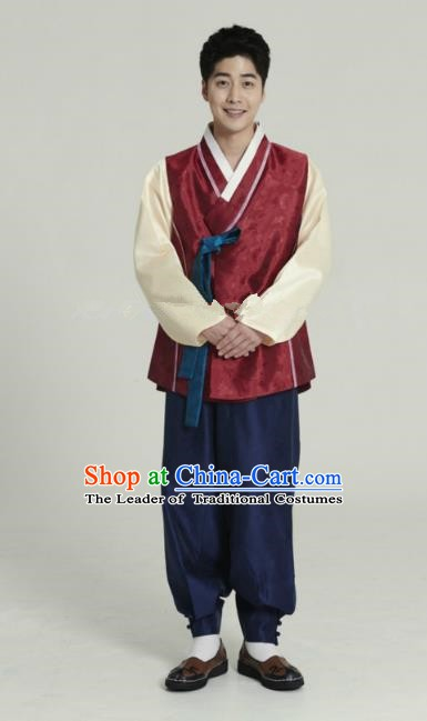 Traditional Korean Costumes Ancient Palace Korean Bridegroom Hanbok Wine Red Vest and Navy Pants for Men