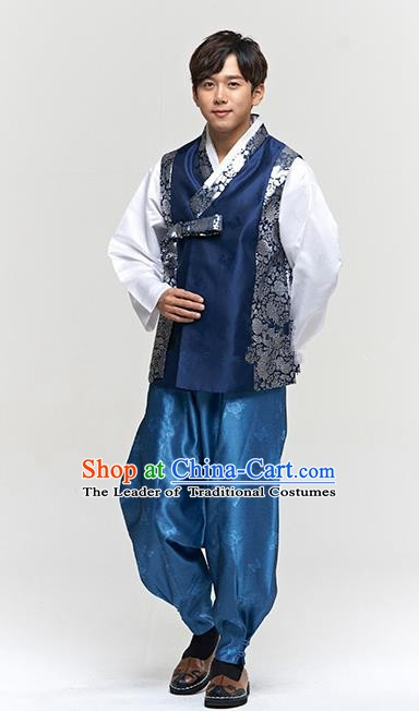 Traditional Korean Costumes Ancient Palace Korean Bridegroom Hanbok Navy Vest and Blue Pants for Men