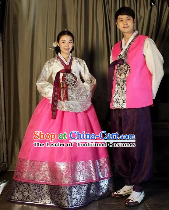 Traditional Korean Costumes Ancient Korean Bride and Bridegroom Hanbok Complete Set