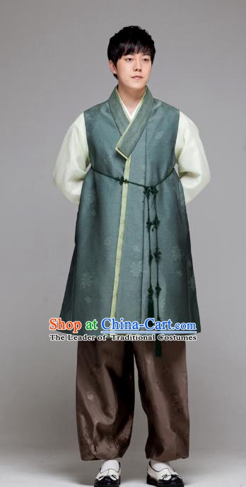 Traditional Korean Costumes Ancient Palace Korean Bridegroom Hanbok Atrovirens Vest and Brown Pants for Men
