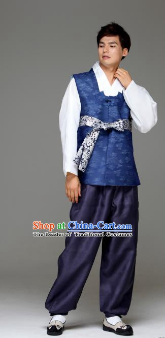 Traditional Korean Costumes Ancient Palace Korean Bridegroom Hanbok Royalblue Vest and Navy Pants for Men