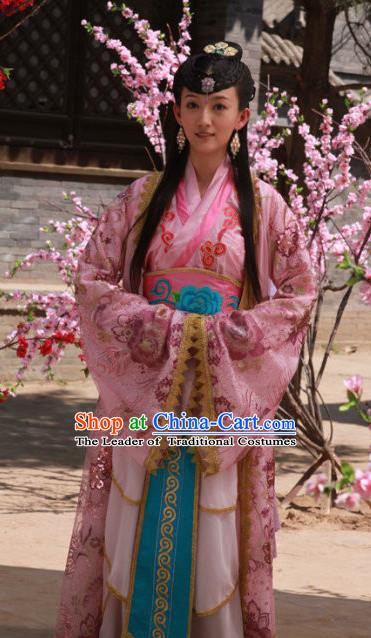 Chinese Ancient Ming Dynasty Princess Embroidered Traditional Dress Replica Costume for Women