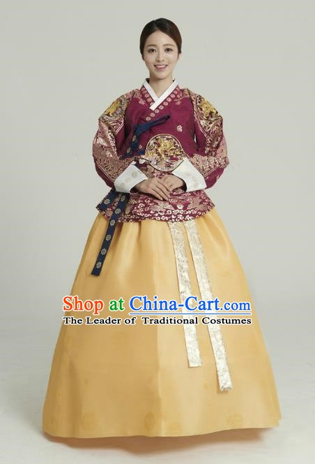 Korean Traditional Bride Tang Garment Hanbok Formal Occasions Wine Red Blouse and Yellow Dress Ancient Costumes for Women