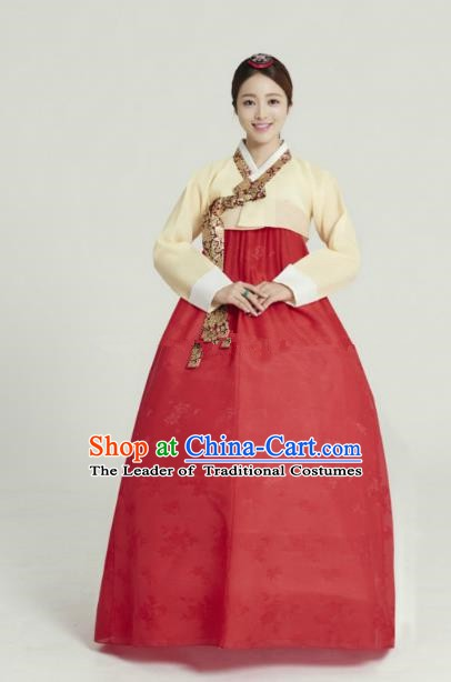 Korean Traditional Bride Tang Garment Hanbok Formal Occasions Yellow Blouse and Red Dress Ancient Costumes for Women