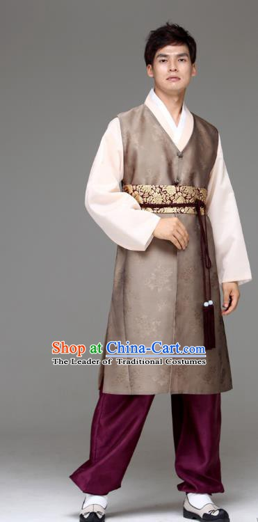Traditional Korean Costumes Ancient Palace Korean Bridegroom Hanbok Brown Vest and Purple Pants for Men