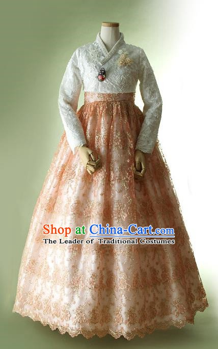 Korean Traditional Bride Tang Garment Hanbok Formal Occasions White Lace Blouse and Orange Dress Ancient Costumes for Women