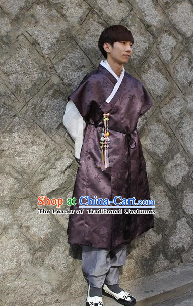 Traditional Korean Costumes Ancient Palace Korean Bridegroom Hanbok Purple Vest and Grey Pants for Men