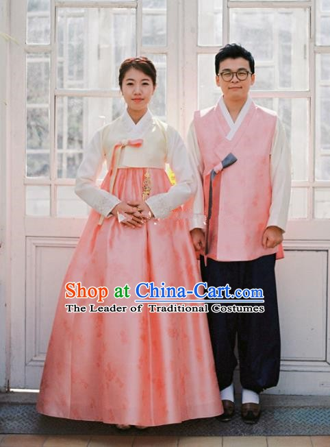 Korean Traditional Wedding Pink Costumes Ancient Korean Palace Bride and Bridegroom Hanbok Complete Set