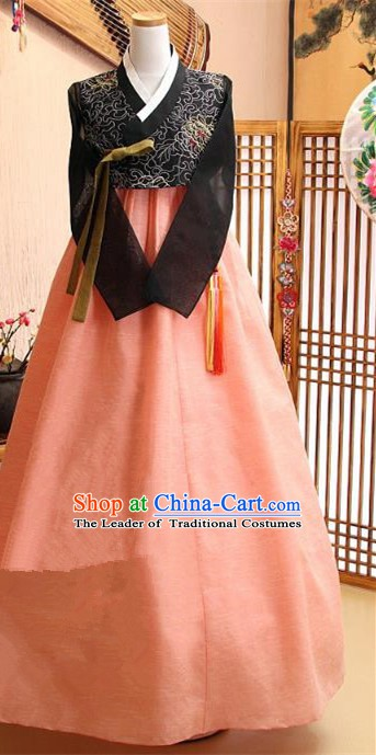 Korean Traditional Tang Garment Hanbok Formal Occasions Black Blouse and Pink Dress Ancient Costumes for Women