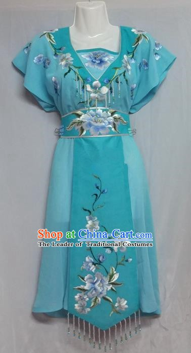 China Traditional Beijing Opera Maidservants Costume Chinese Peking Opera Maid Blue Dress