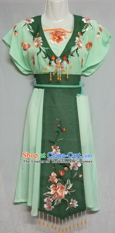 China Traditional Beijing Opera Maidservants Costume Chinese Peking Opera Maid Green Dress