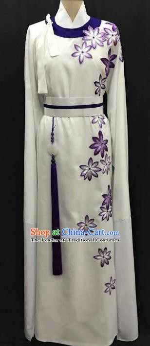 China Traditional Beijing Opera Niche Purple Flowers Robe Chinese Peking Opera Gifted Scholar Costume