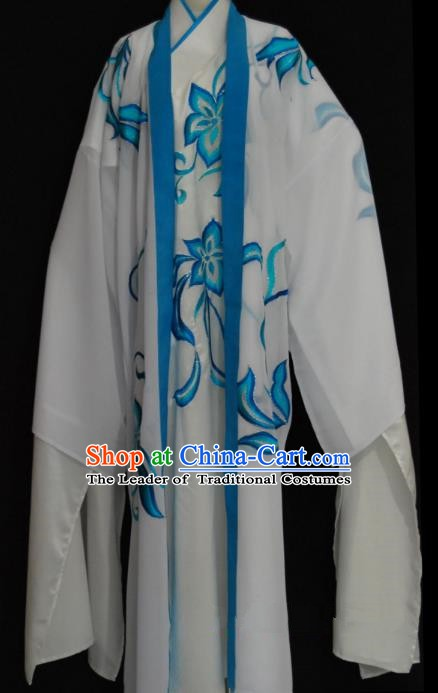 China Traditional Beijing Opera Niche Blue Pattern Robe Chinese Peking Opera Gifted Scholar Costume