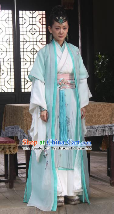 Chinese Song Dynasty Princess Green Dress Ancient Palace Lady Hanfu Replica Costume for Women