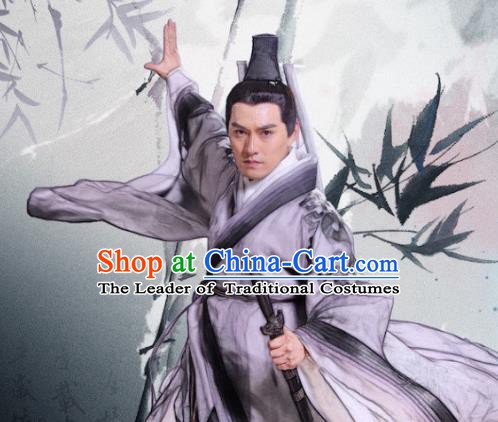 Chinese Song Dynasty Swordsman Wang Chongyang Clothing Ancient Quanzhen Taoism Originator Replica Costume for Men