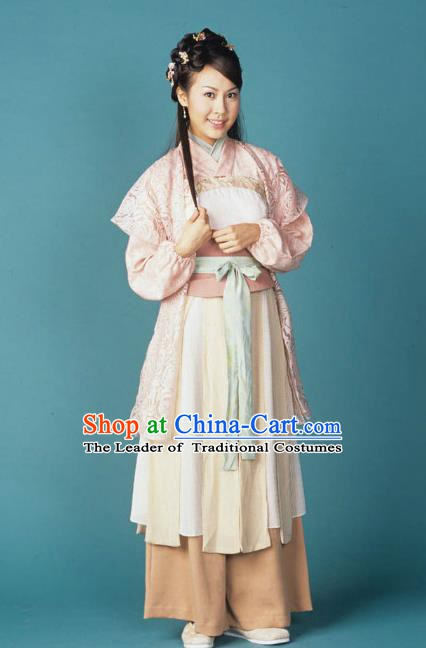 Chinese Song Dynasty Swordswoman Embroidered Dress Ancient Female Knight Replica Costume for Women